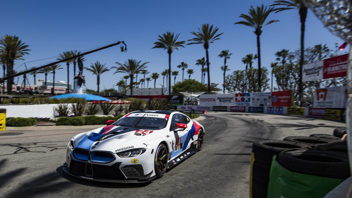 no 24 bmw m8 gte of edwards and krohn finishes fifth at long beach no 25 bmw m8 gte retired. Black Bedroom Furniture Sets. Home Design Ideas